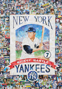 Mickey Mantle  This piece was made entirely with original New York Yankee baseball cards.