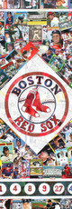 """Logo, made entirely of original Boston Red Sox baseball cards. Included in the design, retired numbers, and a tribute to the GREEN MONSTER.  A lot of history represented in this piece   32""""x32"""""""