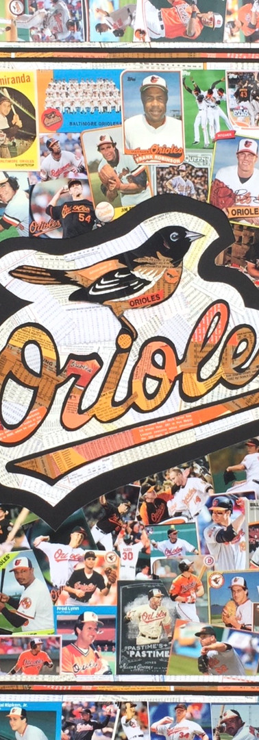 "Logo commisioned by serious Baltimore Orioles fan. Made entirely with original Orioles cards.   Great design, incorporating 3 logos and a stylish border on a black backbround    32""x40"""