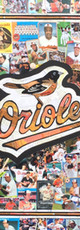 """Logo commisioned by serious Baltimore Orioles fan. Made entirely with original Orioles cards.   Great design, incorporating 3 logos and a stylish border on a black backbround    32""""x40"""""""