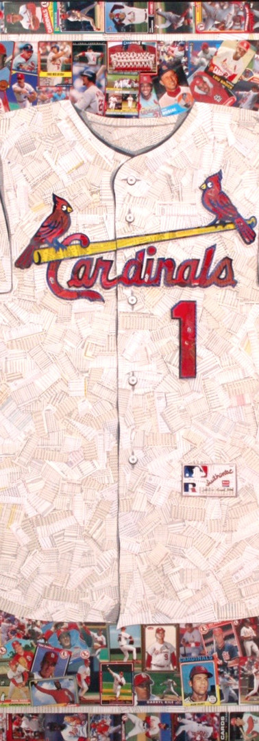 "Saint Louis Cardinals   Full size reproduction of a St Louis Cardinals jersey.  Made entirely with original Cardinals baseball cards, from the 1950s through current players (the white of the jersey is the backs of cards, not all Cardinals). Iconic logo.  42""x48"""