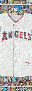 """Angels Jersey  Full size reproduction of an authentic Angels jersey.  Made entirely from original Angels baseball cards (the white of the jersey is the backs of cards, not all Angels)  42""""x48"""". Great border on this piece"""