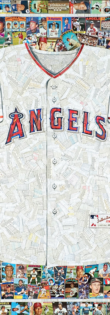 "Angels Jersey  Full size reproduction of an authentic Angels jersey.  Made entirely from original Angels baseball cards (the white of the jersey is the backs of cards, not all Angels)  42""x48"". Great border on this piece"