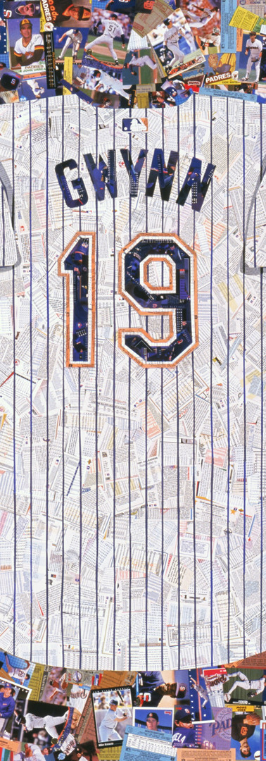 "Tony Gwynn 19  Tony Gwynn jersey, made entirely with Padres cards.  Even the pin stripes are baseball cards. All cards were teammates of Tony Gwynn's.  The first time Tony saw this picture was at the San Diego Hall of Champions. He loved it, and all the memories it brought back as he told stories about different team mates and coaches that are represented. He enjoyed seeing a lot of his old cards as well    42""x48"""