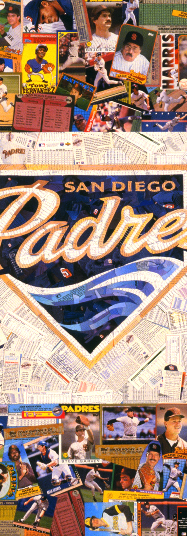 Padres logo, made entirely with original San Diego Padres baseball cards.  As you can see from other Padres logo, even though logos are the same, no two pieces will ever be the same.  They're all unique, and incredible