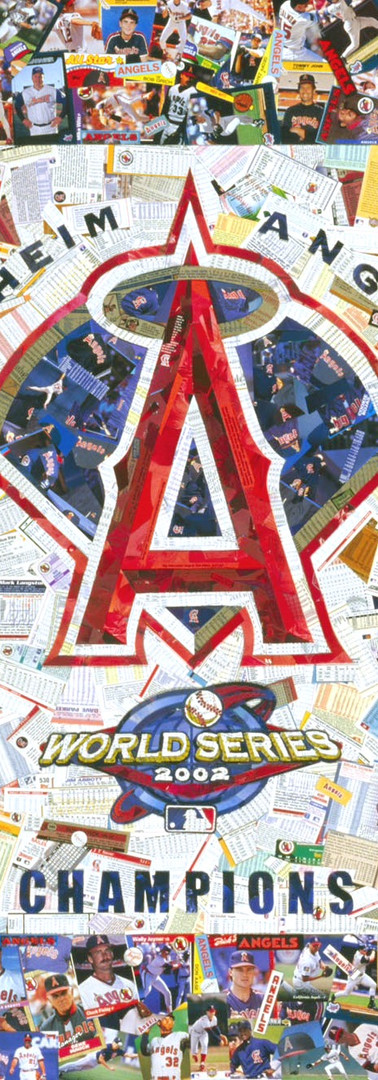 Made entirely with original Angels baseball cards, this peiece was made to commemorate the Angels first World Series title