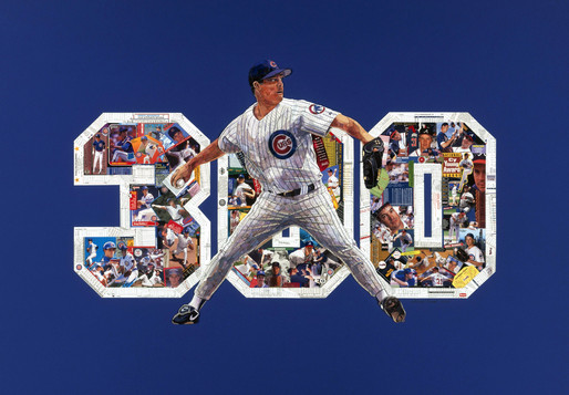 Greg Maddux  When Hall of Fame player Greg Maddux won his 300th game, his agent Scott Boras wanted to buy him something very special.   Rolex?  No.   New car?  No.   He ended up commisioning me to make this custom made, one of a kind picture created completely with original baseball cards from Maddux's long and storied career (including rookie cards and other special cards from his time on the field). This piece was challenging, but ended up being amazing.  Yes, even the pinstripes are pieces of baseball cards. Did I mention it's amazing?