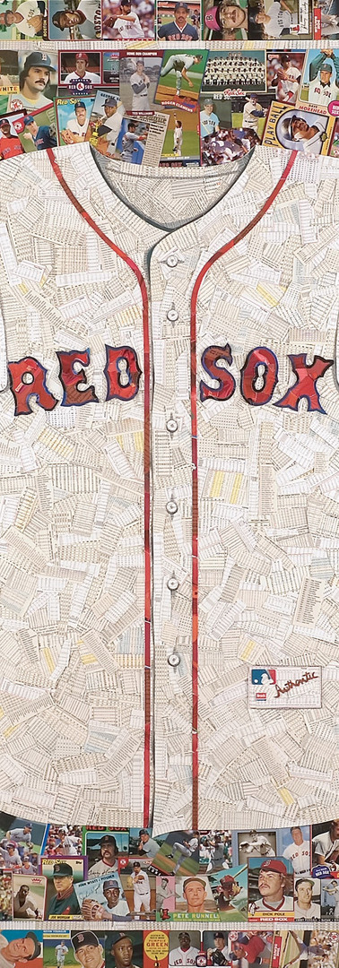 "Red Sox Jersey     Full size replica, made entirely from original Boston Red Sox baseball cards (the white of the jersey is the back off cards, not all Red Sox) 42""x48"". 2 classic logos included in this piece.  A lot of history represented in the cards of this piece, always appreciated by Red Sox fans"