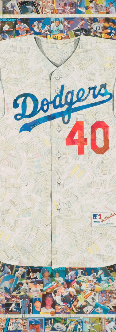 Happy 40th Birthday  Full size reproduction of a Dodgers jersey, made entirely from original Dodgers baseball cards (the white of the jersey is the backs of cards, not all Dodgers). Cards from the 50's through current players with an emphasis on client's favorite players.  This was a surprise gift for a 40th birthday.  A great example of a custom piece, both in the number and the cards that were used.