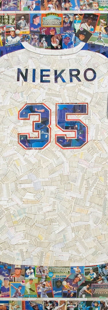 "Phil Niekro  Hall of Fame member, Phil Niekro full size replica jersey made entirely from team mate's cards from his career. 42""x48"". Those sleeves turned out really well, as did the 35"