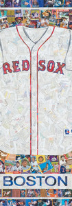 """Red Sox Jersey  Full size replica jersey made entirely from Red Sox baseball cards (the white of the jersey is the backs of cards, not all Red Sox cards) Original cards, from the 1950s through current players.  Including team logos and BOSTON. Full size replica, 42""""x48"""""""