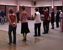Beginners class learning the basic footsteps