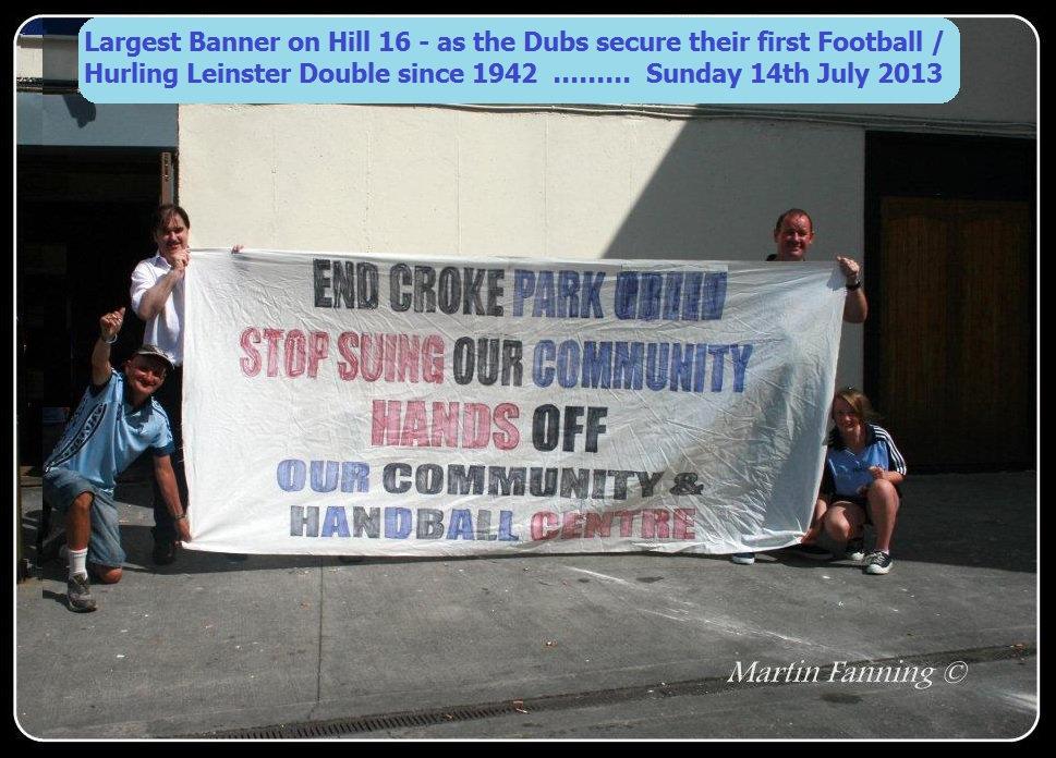 Croke Park Dispute, GAA, Croke Park, Hill-16, Hill 16, Croke Park Community Handball Centre, Dublin Ireland Protest, GAA Sue Community, Croke Park GAA Sue Community, The Dubs, Up the Dubs, Dublin Football, Dublin GAA