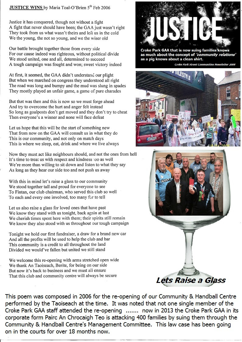 Justice for the Croke Park Community and Handball Centre in Dublin Ireland.