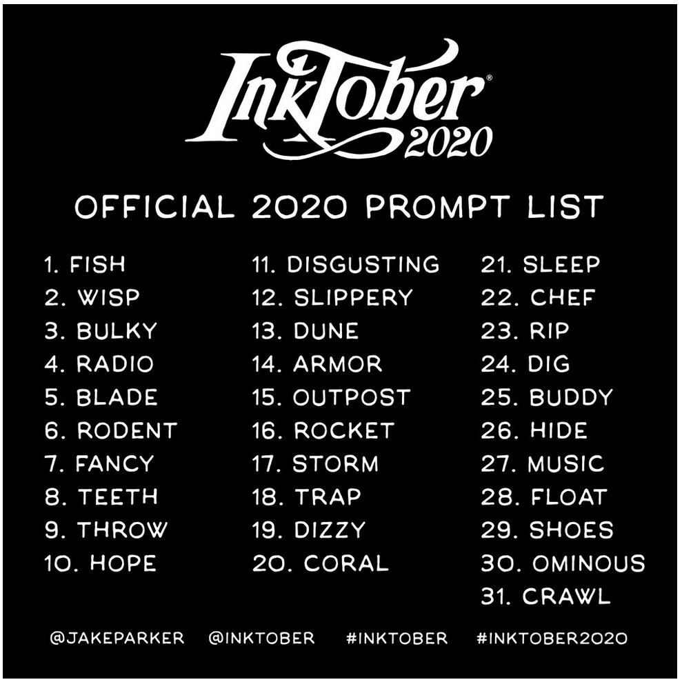 Inktober Prompt List