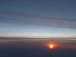 Sunrise flying over Normandy