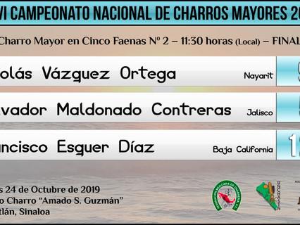 Charro Mayor en Cinco Faenas N. 2 - 11:30 hrs (Local) - FINAL