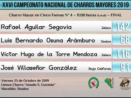 Charro Mayor en Cinco Faenas N. 4 - 11:00 hrs (Local) - FINAL