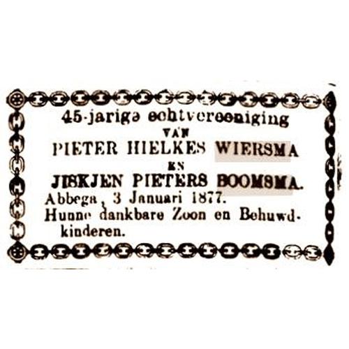 7506 45 Jarig huwelijk Pieter en Jiskje.