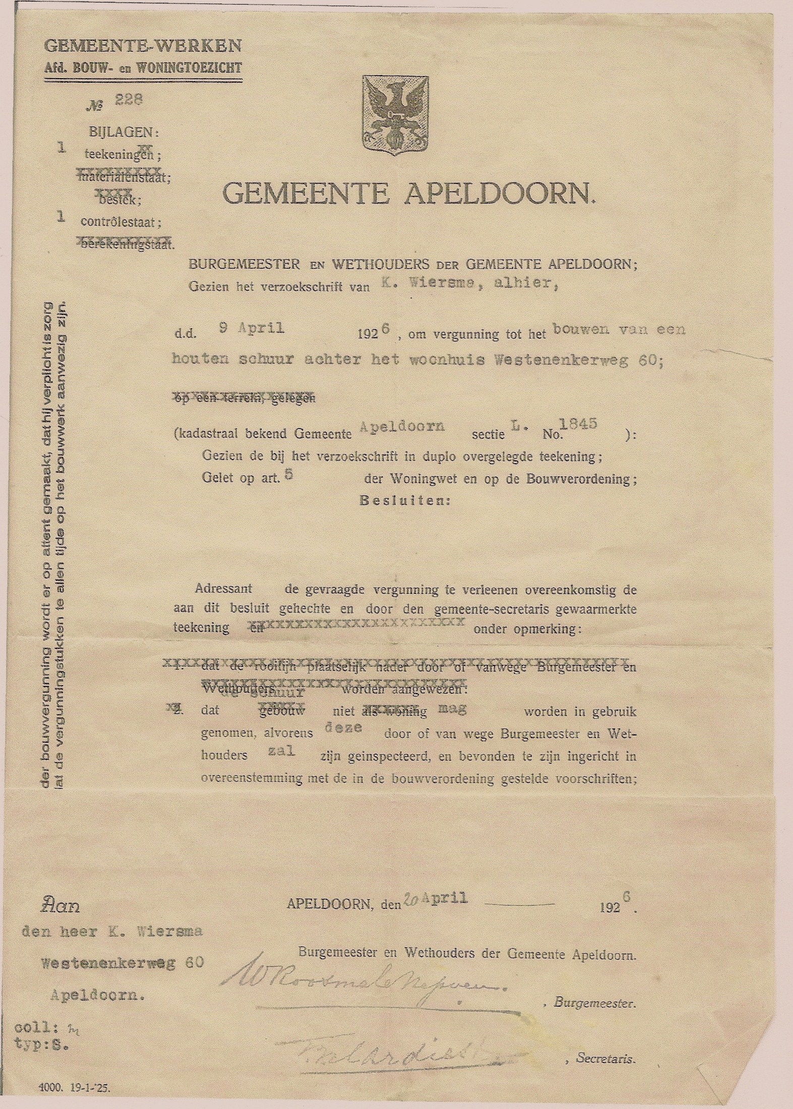 9013 Vergunning Schuur  nr; 60 jaar 1926