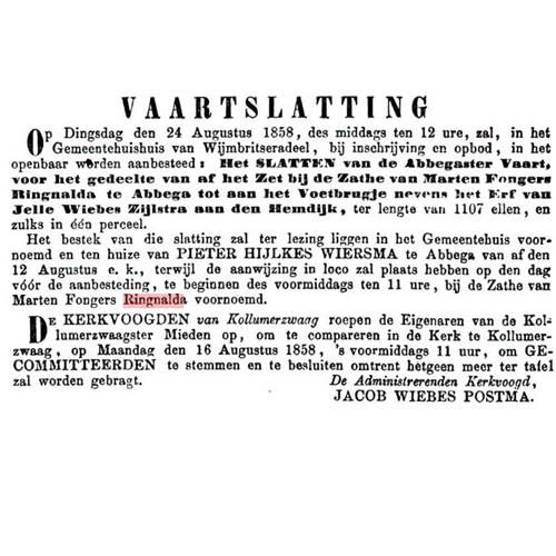 9007 Vaarslatting 24 augustus 1858