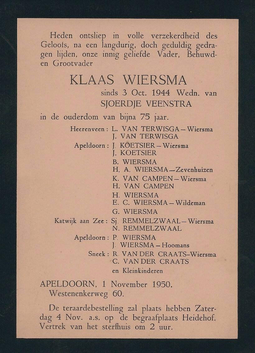 7526 Rouwkaart Klaas Wiersma 07-12-1875