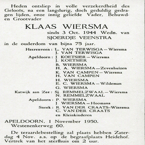7509 Rouwkaart Klaas Wiersma 1876-1950