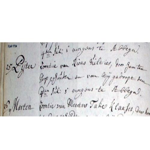 1013 Doopakte Pieter Rienks 1734