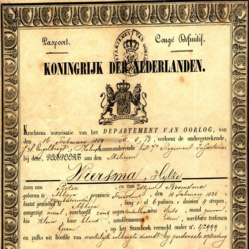 6000 Paspoort Hijlke Wiersma 1835-1876