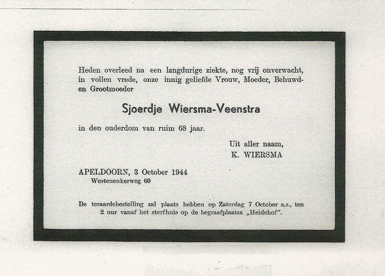 7525 Rouwkaart Sjoerdje Wiersma - Veenst