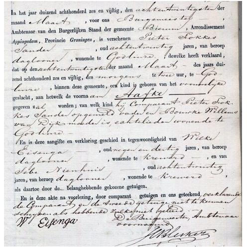 1012 Doop akte Aafke Sander 28-03-1856