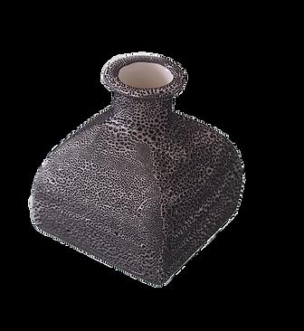 Slipcast bottle with lacquer glazing, using Mayco Cobbelstone glaze