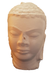Buddha head, made by slicasting from 3D printed pattern.
