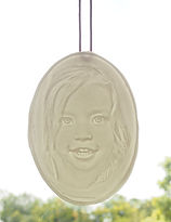 free hanging porcelain lithophane of a young girl