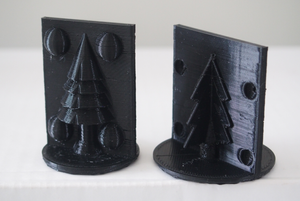 3D printed patterns of Christmas trees for mould making.