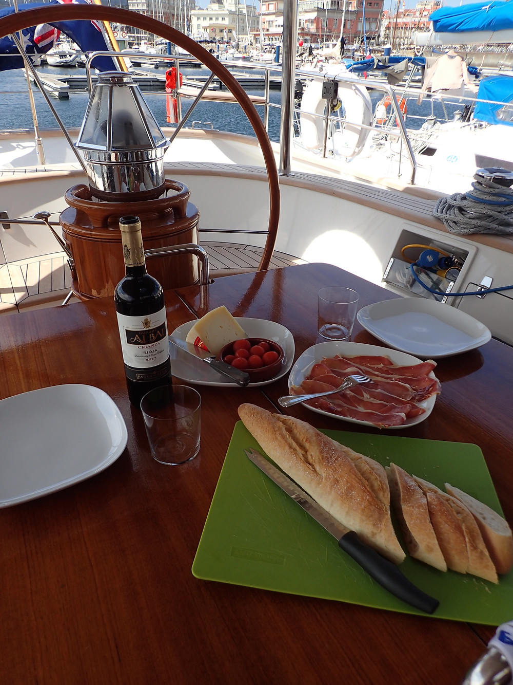 Lunch in the cockpit in A Coruna
