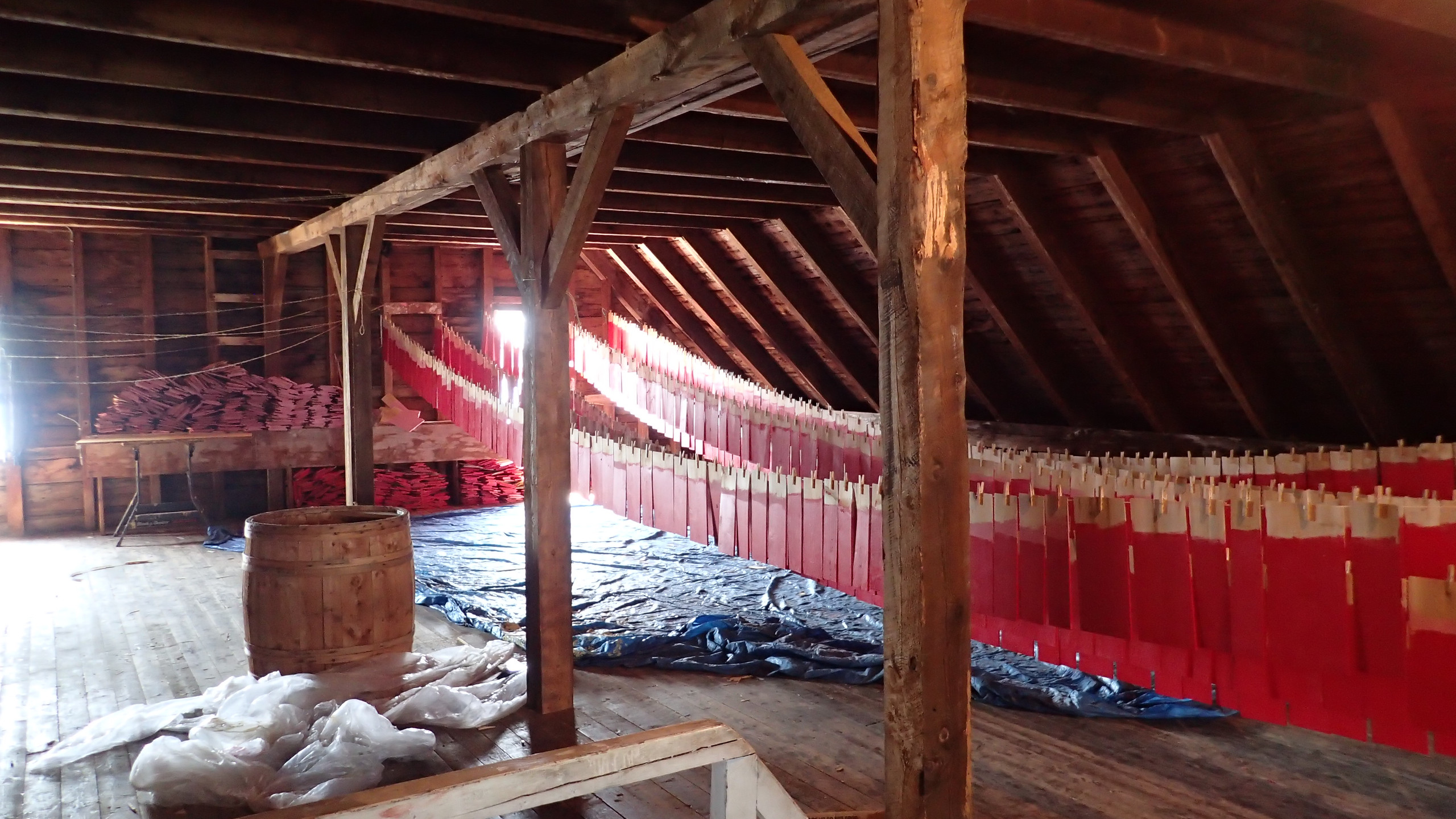 Shingles drying in the attic.
