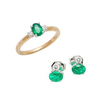 Smaragd Ring & Smaragd Ohrstecker
