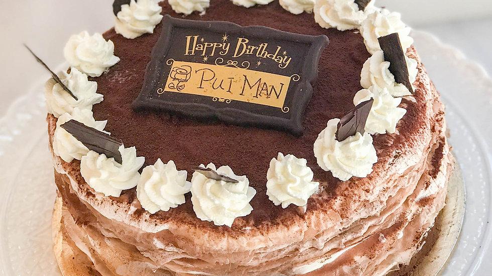 CHOCOLATE VANILLA CREPE CAKE