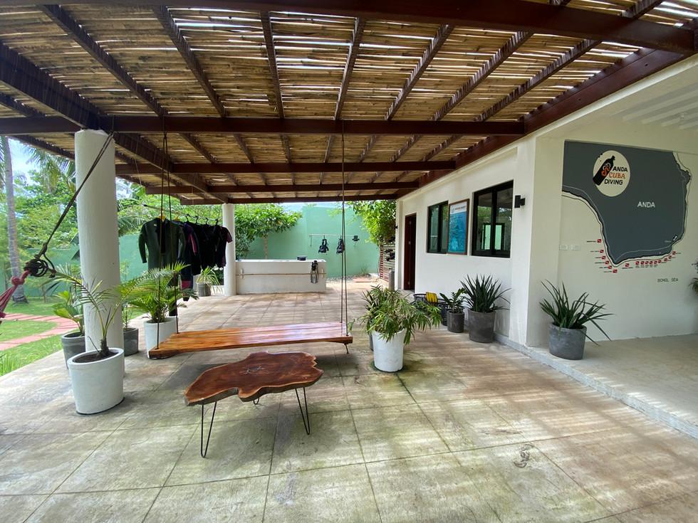 Terrasse et station de nettoyage
