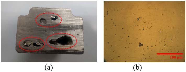 圖2 鑄件縮孔缺陷(a)、縮孔微觀組織(b)
