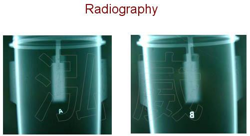以 X光攝影,在該區域確實存在鑄件縮孔