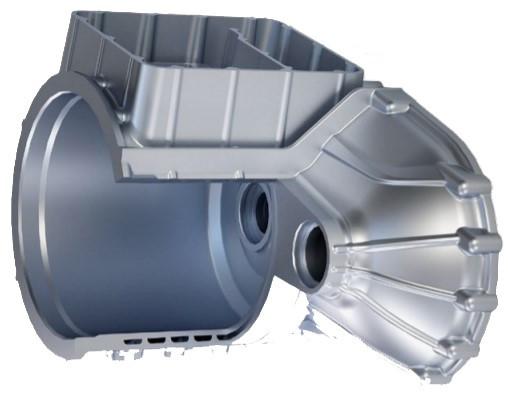 圖2 整合化設計電動馬達殼包含冷卻通道及水套(透過芯製作)