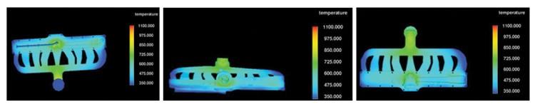 圖4.凝固結束時之鑄件溫度分布結果