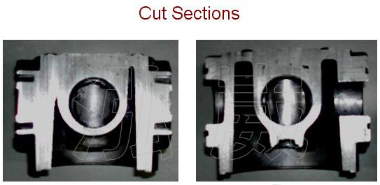 鑄件成品做剖面切割,在該區域確實存在縮孔缺陷