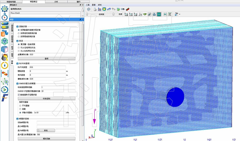圖3-2.FLOW-3D Cast V5充填模組設定