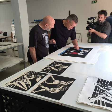 Verifying the prints with Dan Benveniste for Collecion Solo, Benveniste Printing House, Madrid, Spain.
