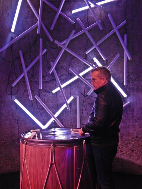 """Tambo"", sound and light interactive sculpture, Let's Talk exhibition, Belgrade, Serbia."