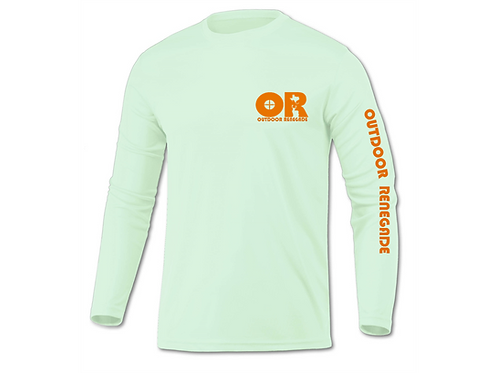 Men's Outdoor Renegade Fishing Shirt (Sea Foam w/ Neon Orange)