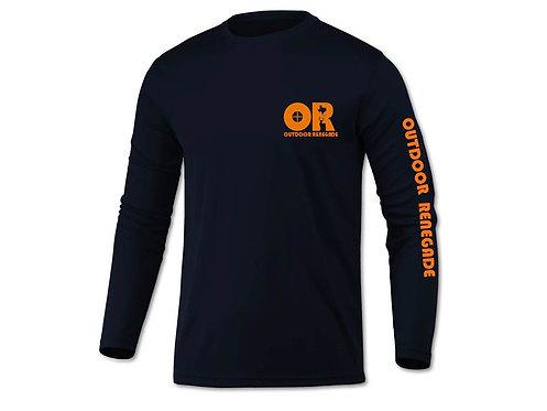 Outdoor Renegade Fishing Shirt (Navy w/ Neon Orange)